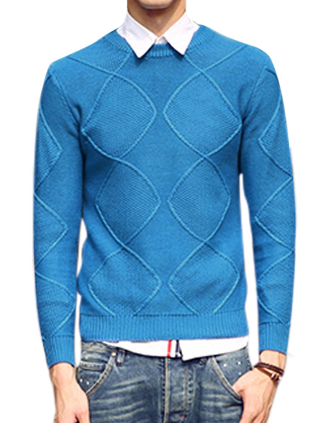 Men Crew Neck Argyle Design Ribbed Hem Fashion Sweater Blue M