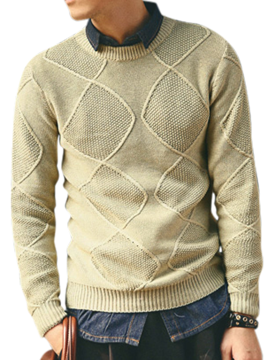 Men Crew Neck Argyle Design Ribbing Trim Fashion Sweater Beige M