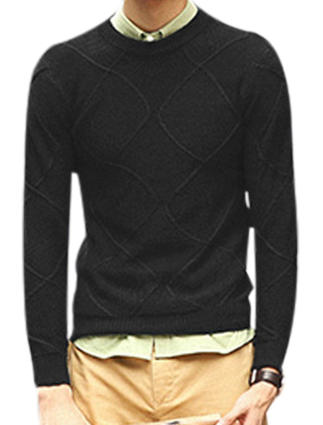 Men Argyle Design Ribbed Cuffs w Hem Casual Sweater Black M