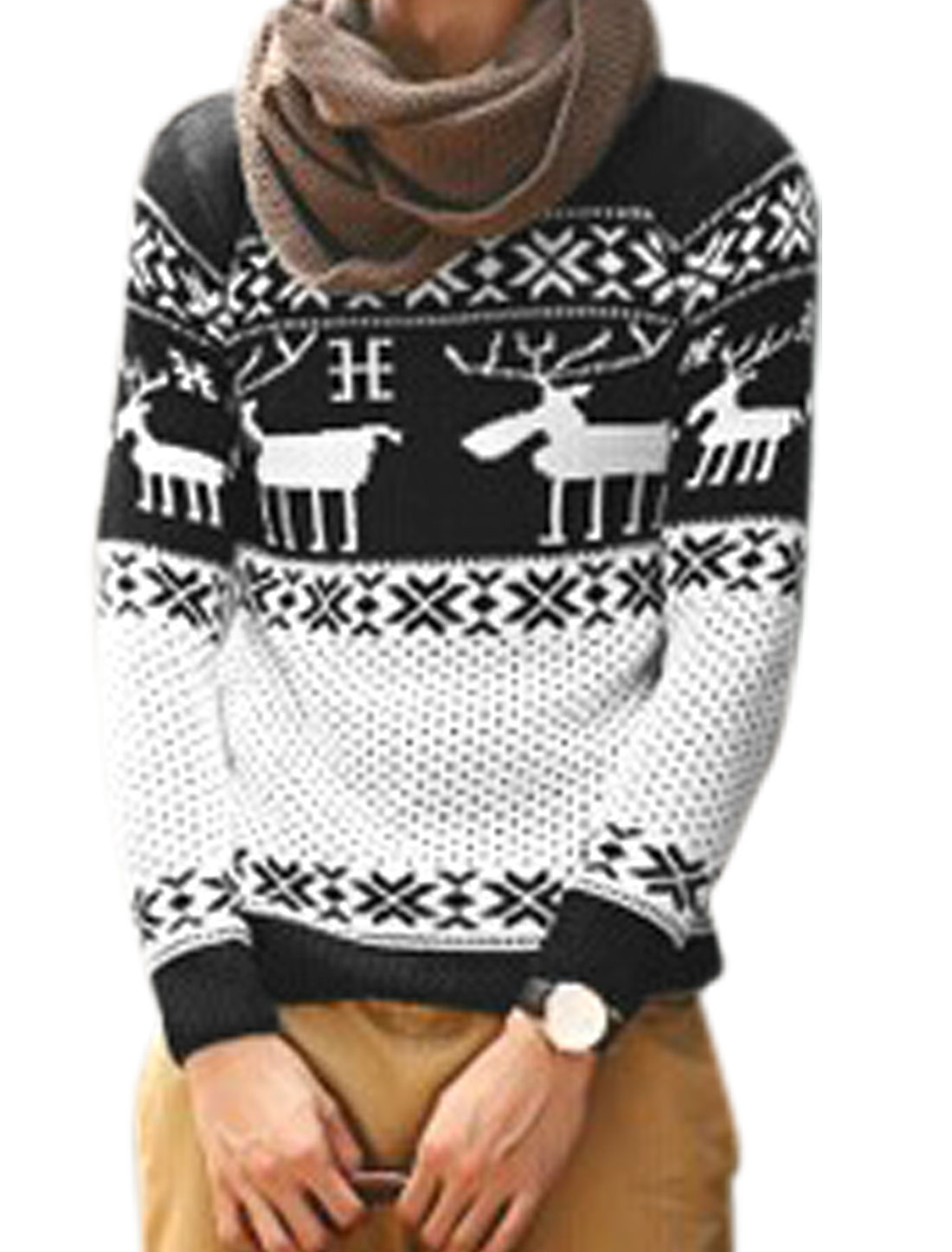 Men Leisure Deer Pattern Snowflake Pattern Contrast Color Sweater Black White S
