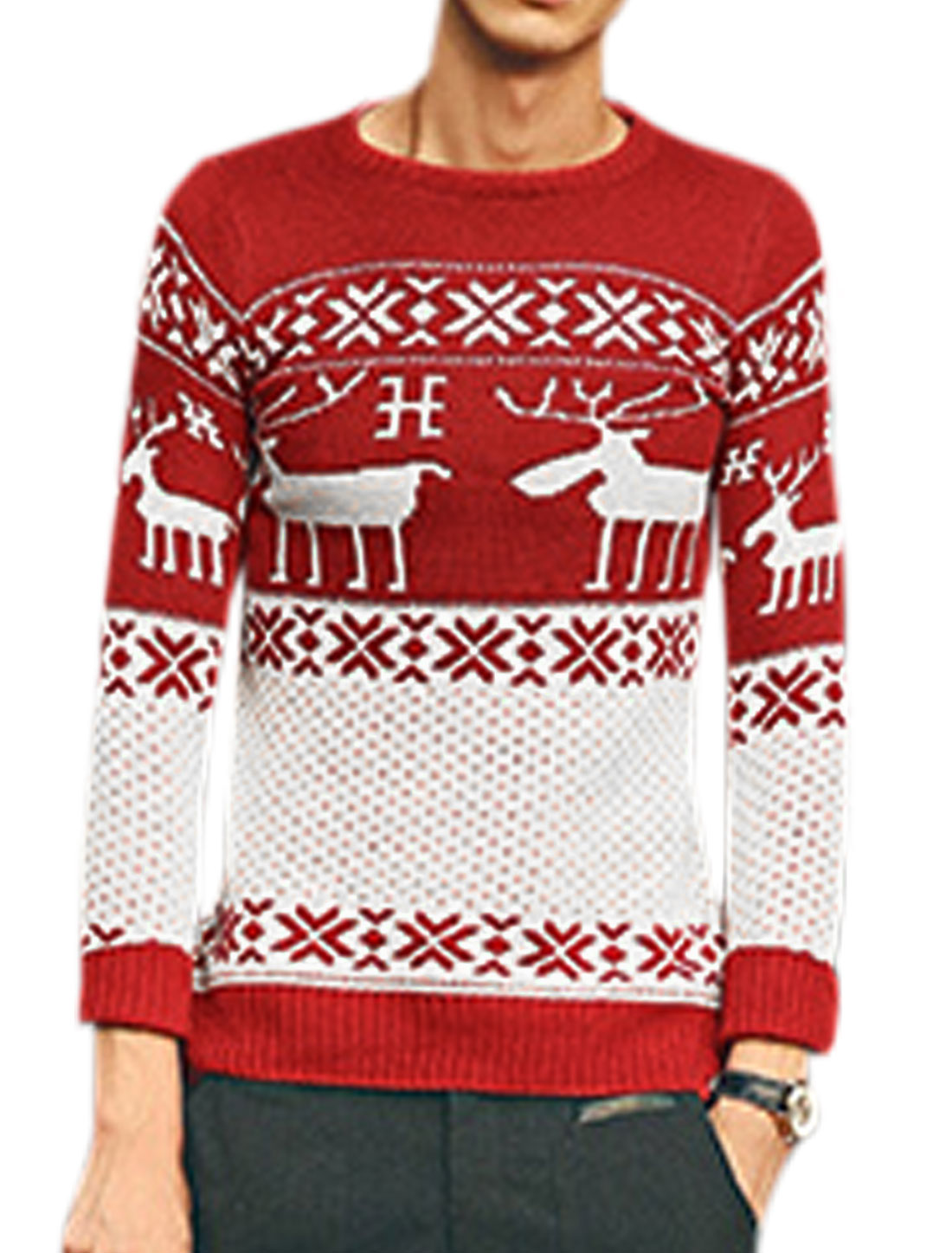 Men Leisure Deer Pattern Snowflake Pattern Ribbed Cuffs Sweater Red White S