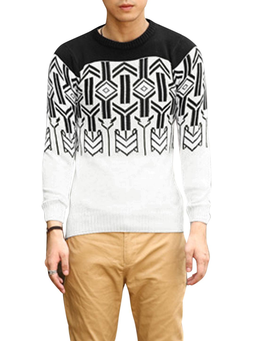 Men Pullover Geometric Zig-Zag Pattern Ribbed Hem Sweater Black White S