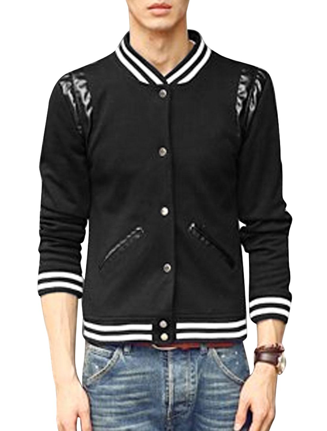Men Ribbed Trim Front Pockets Long Sleeve Casual Baseball Jacket Black M