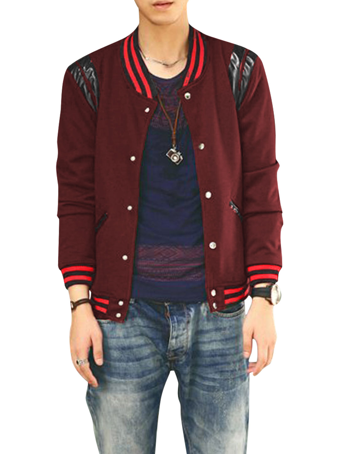 Men Imitation Leather Spliced Long Sleeve Button Down Casual Jacket Burgundy M