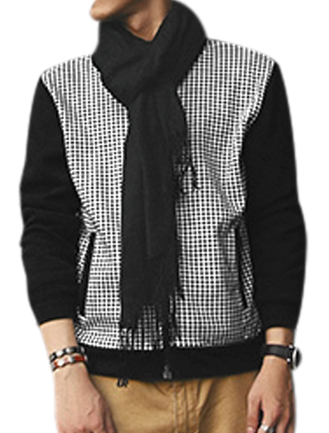 Men Stand Collar Zip Up Houndstooth Pattern Jacket Black White M