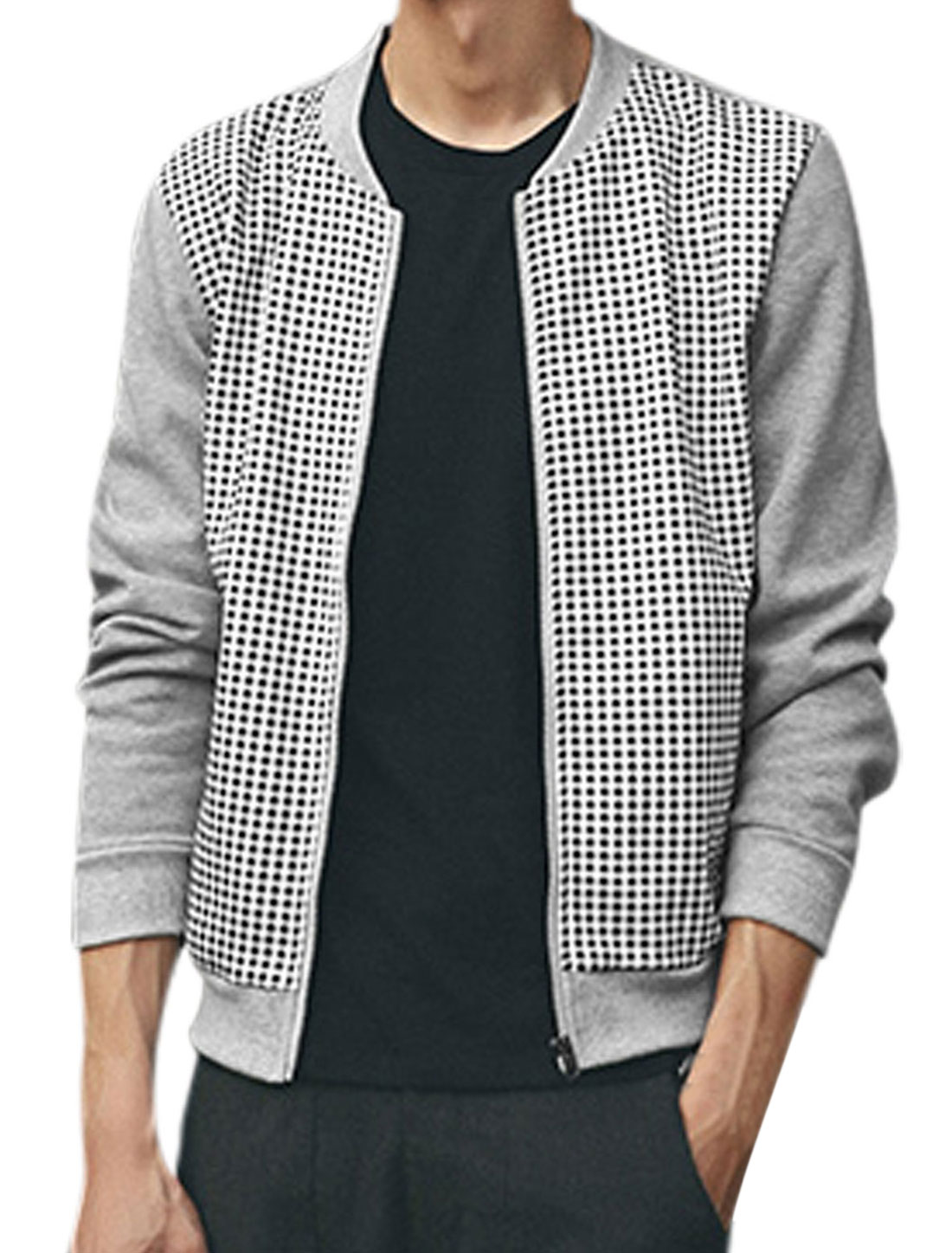 Men Houndstooth Long Sleeves Zip Closed Jacket Light Gray White M