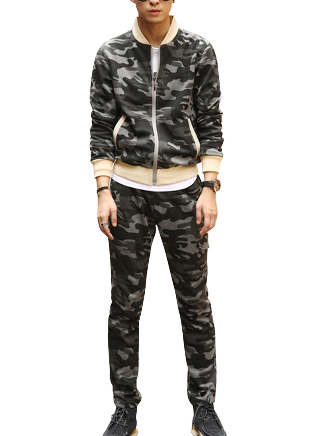 Men Camouflage Pattern Zip Up Jacket w Elastic Waist Pants Army Green Gray S