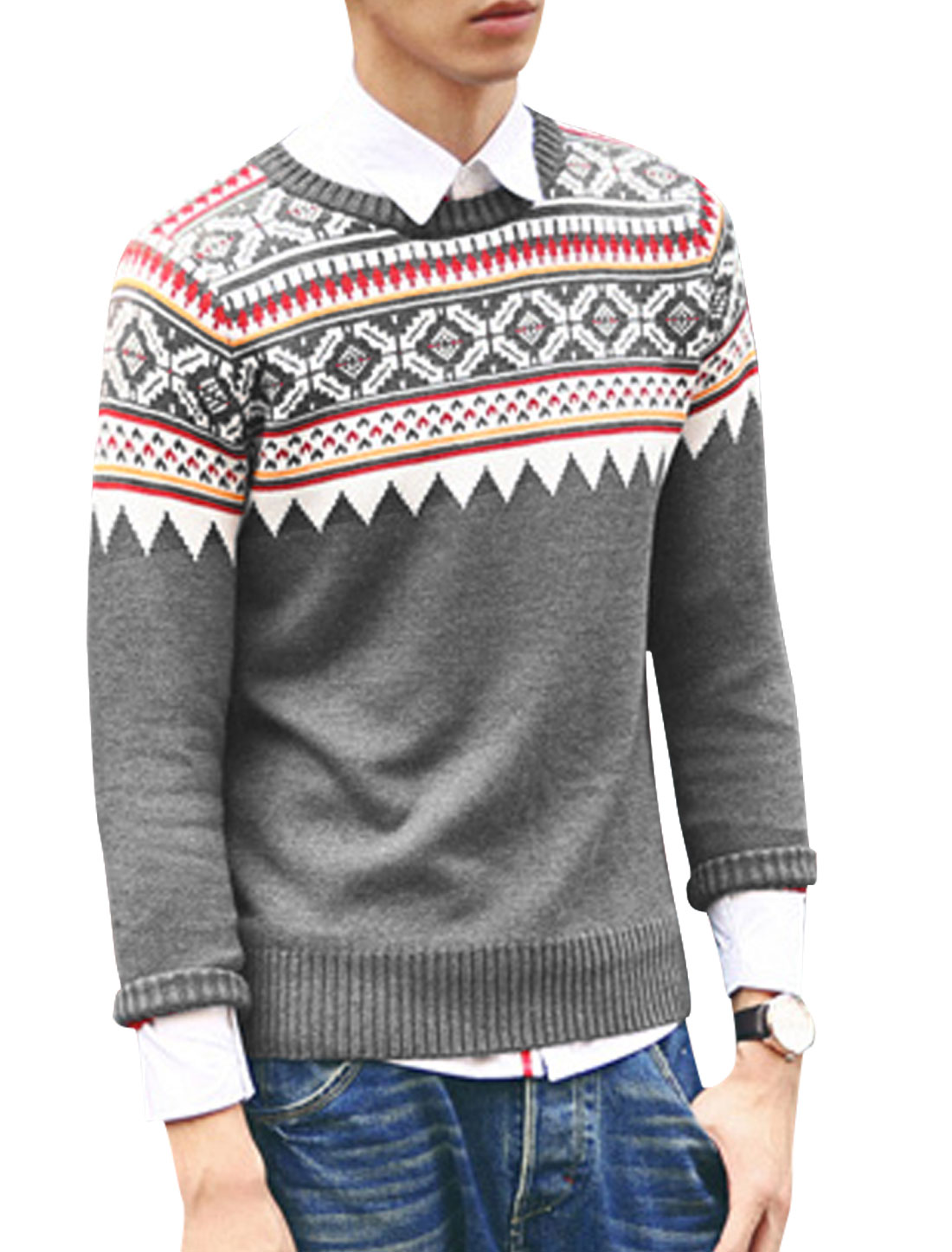 Men Geometric Pattern Round Neck Long Sleeve Ribbed Hem Sweater Gray M
