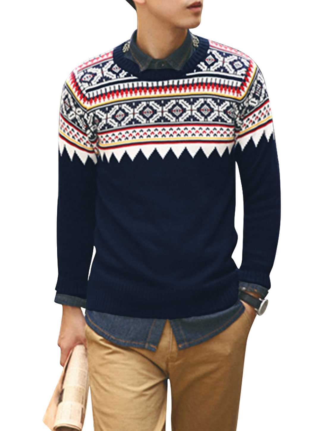 Men Pullover Geometric Pattern Leisure Sweater Navy Blue M