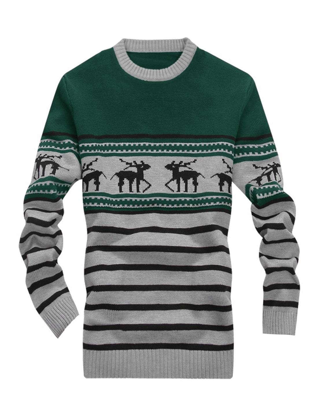 Men Newly Stylish Crew Neck Deer Pattern Zigzag Pattern Sweater Green Light Gray S