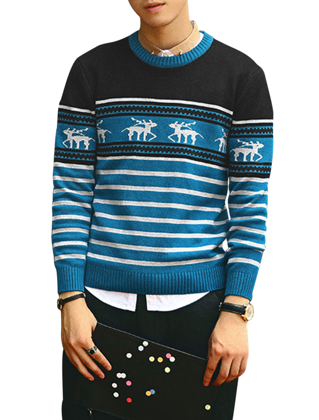 Men Newly Stylish Contrast Color Deer Pattern Zigzag Pattern Sweater Black Blue S
