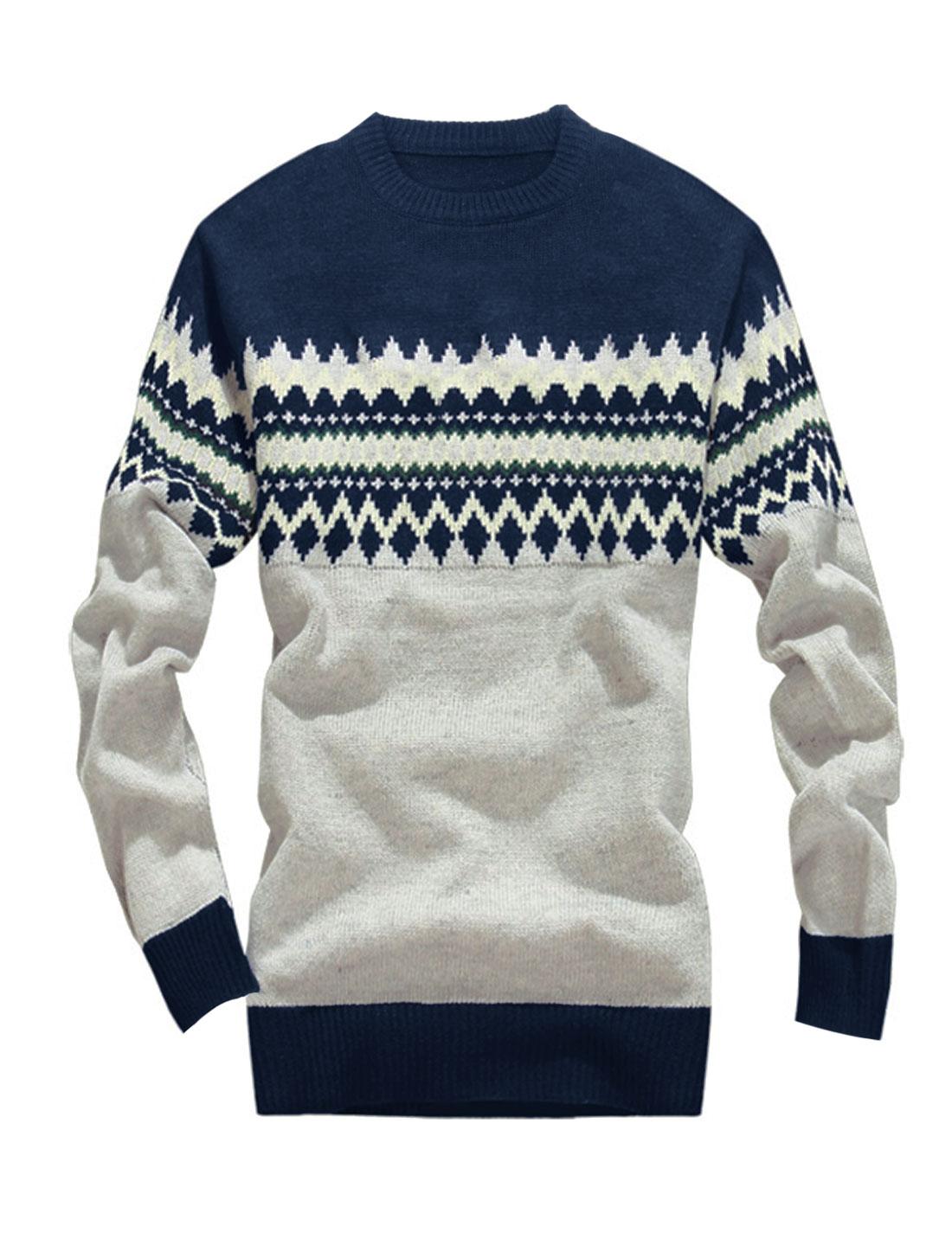 Men Long Sleeves Argyle Pattern Zigzag Pattern Sweater Light Gray Navy Blue S