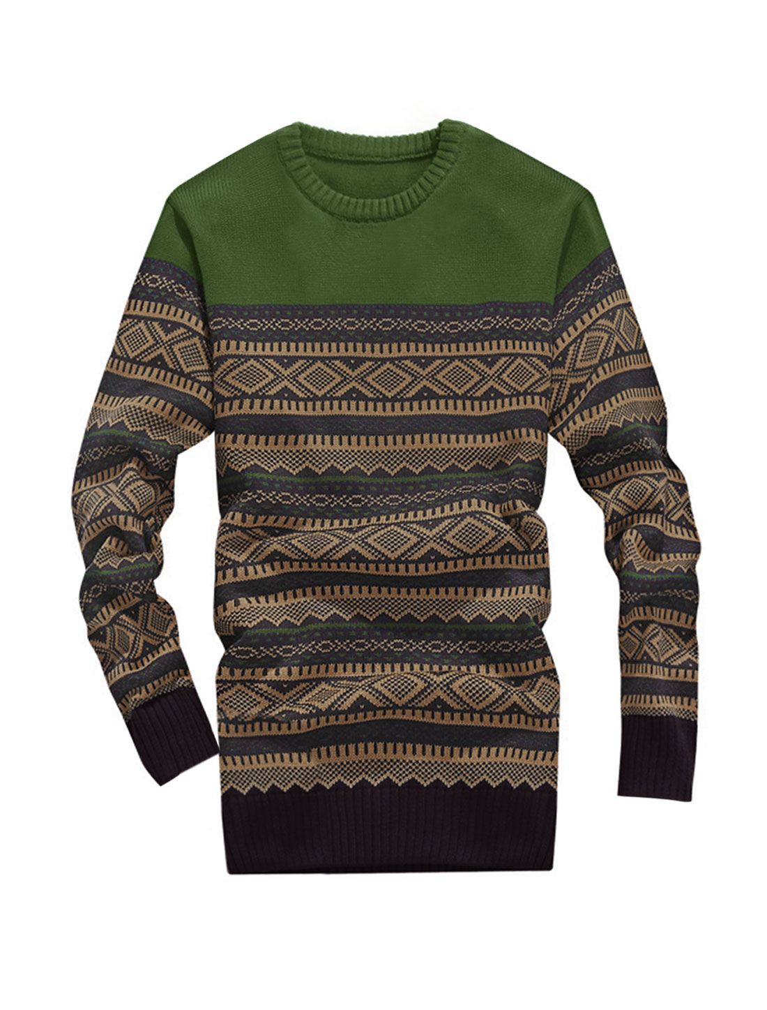 Men Cozy Fit Argyle Pattern Zigzag Pattern Contrast Color Sweater Dark Green S