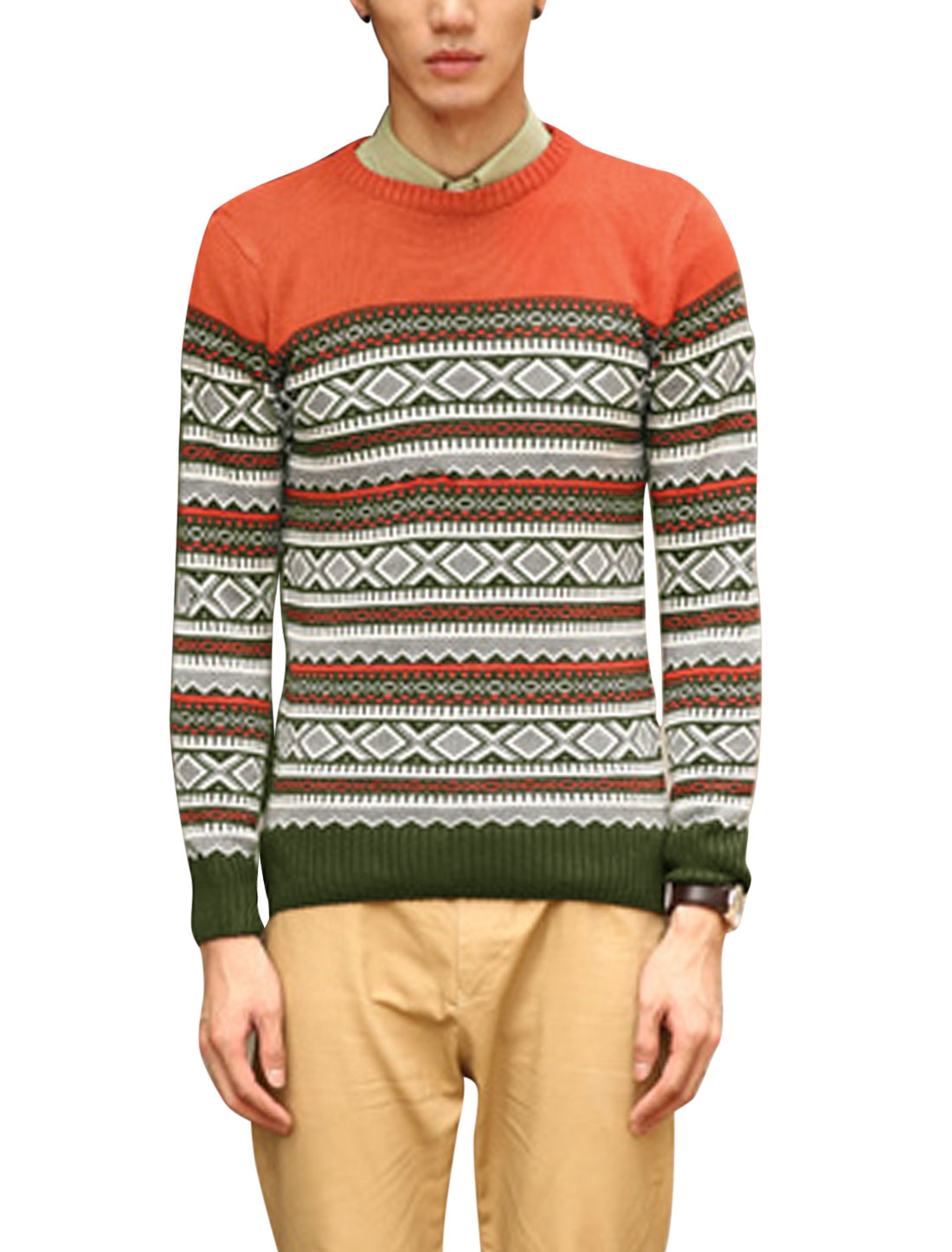 Men Cozy Fit Argyle Pattern Zigzag Pattern Ribbed Cuffs Sweater Orange S