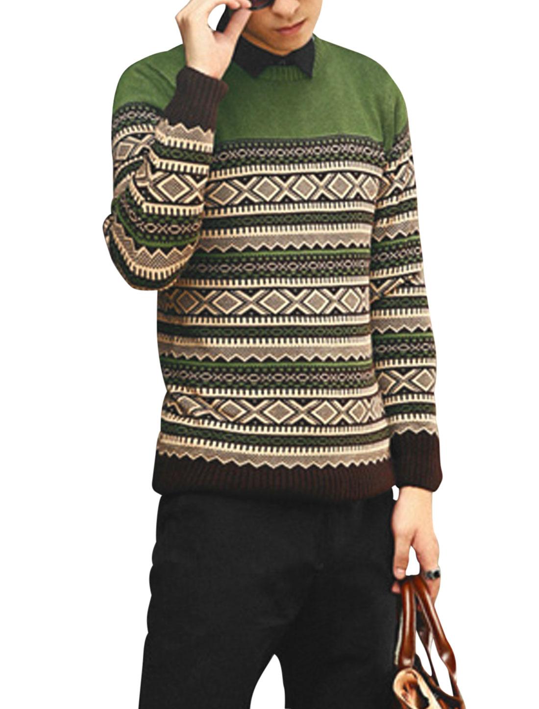 Men Cozy Fit Argyle Pattern Zigzag Pattern Ribbed Hem Sweater Light Green S