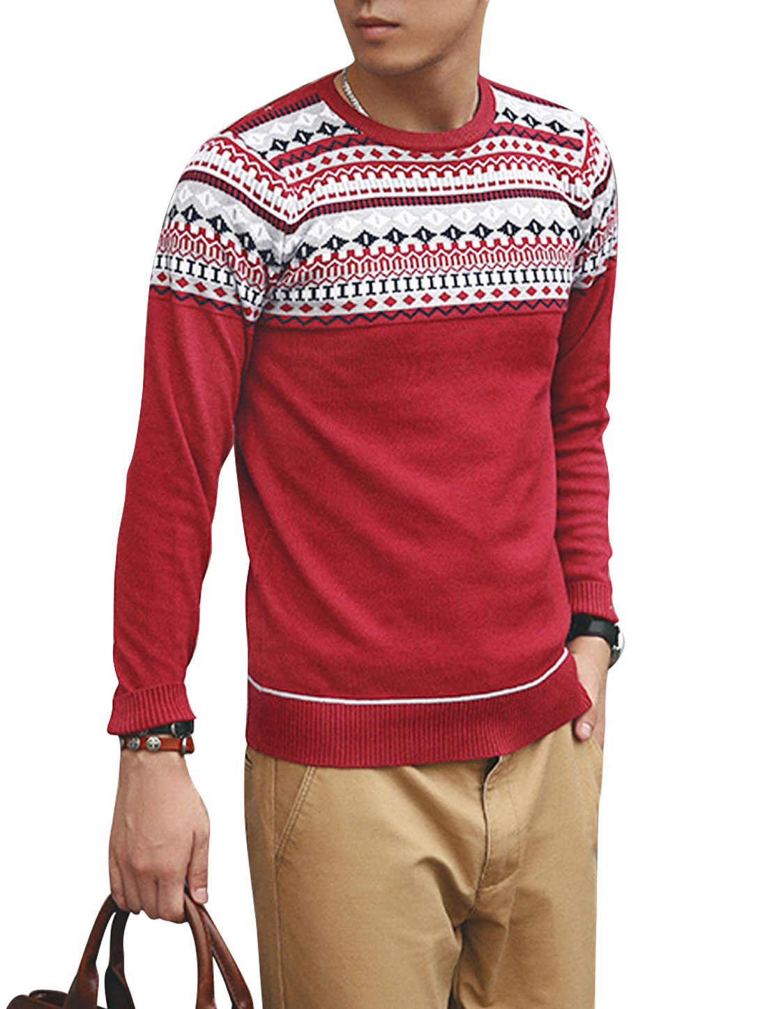 Men Argyle Pattern Zigzag Pattern Ribbing Cuffs Casual Sweater Burgundy S