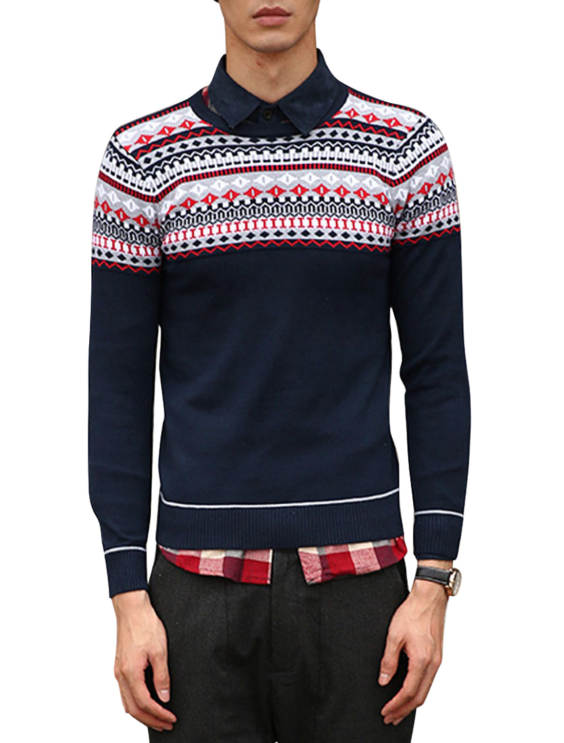 Men Argyle Pattern Zigzag Pattern Crew Neck Pullover Sweater Navy Blue S