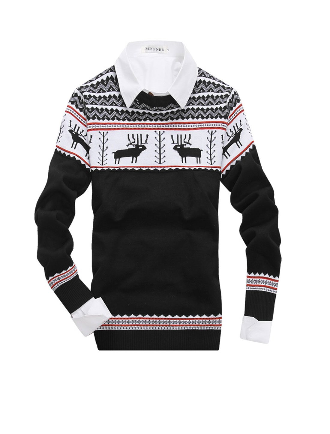 Men NEW Fashion Deer Pattern Zigzag Pattern Contrast Color Sweater Black S