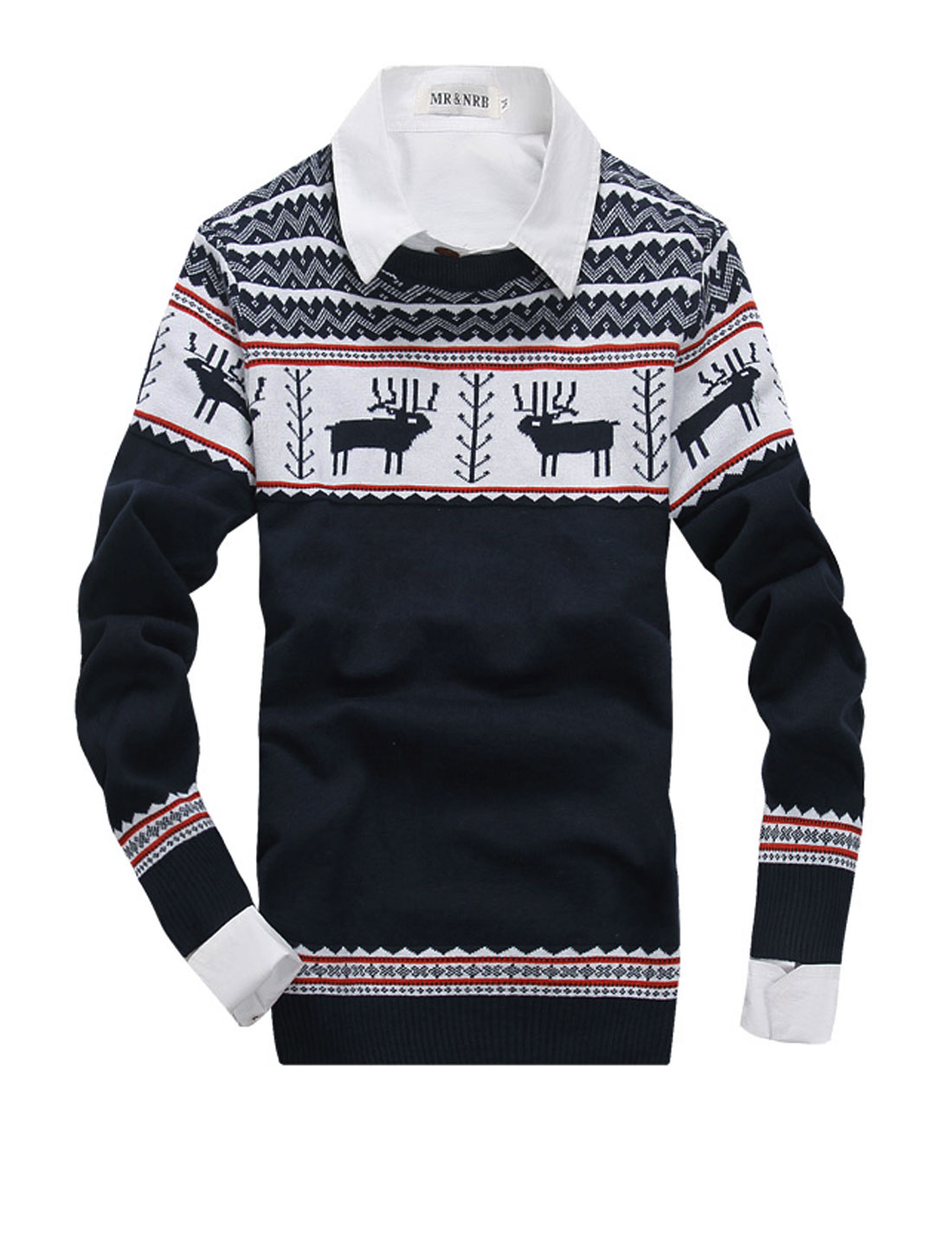 Men NEW Fashion Deer Pattern Zigzag Pattern Ribbed Cuffs Sweater Navy Blue S