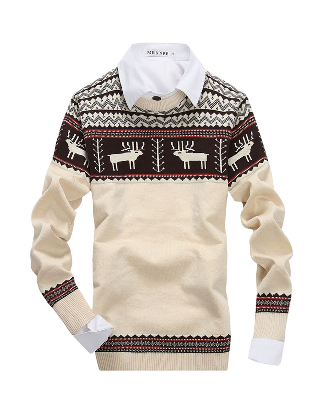 Men NEW Fashion Deer Pattern Zigzag Pattern Ribbed Hem Sweater Beige S