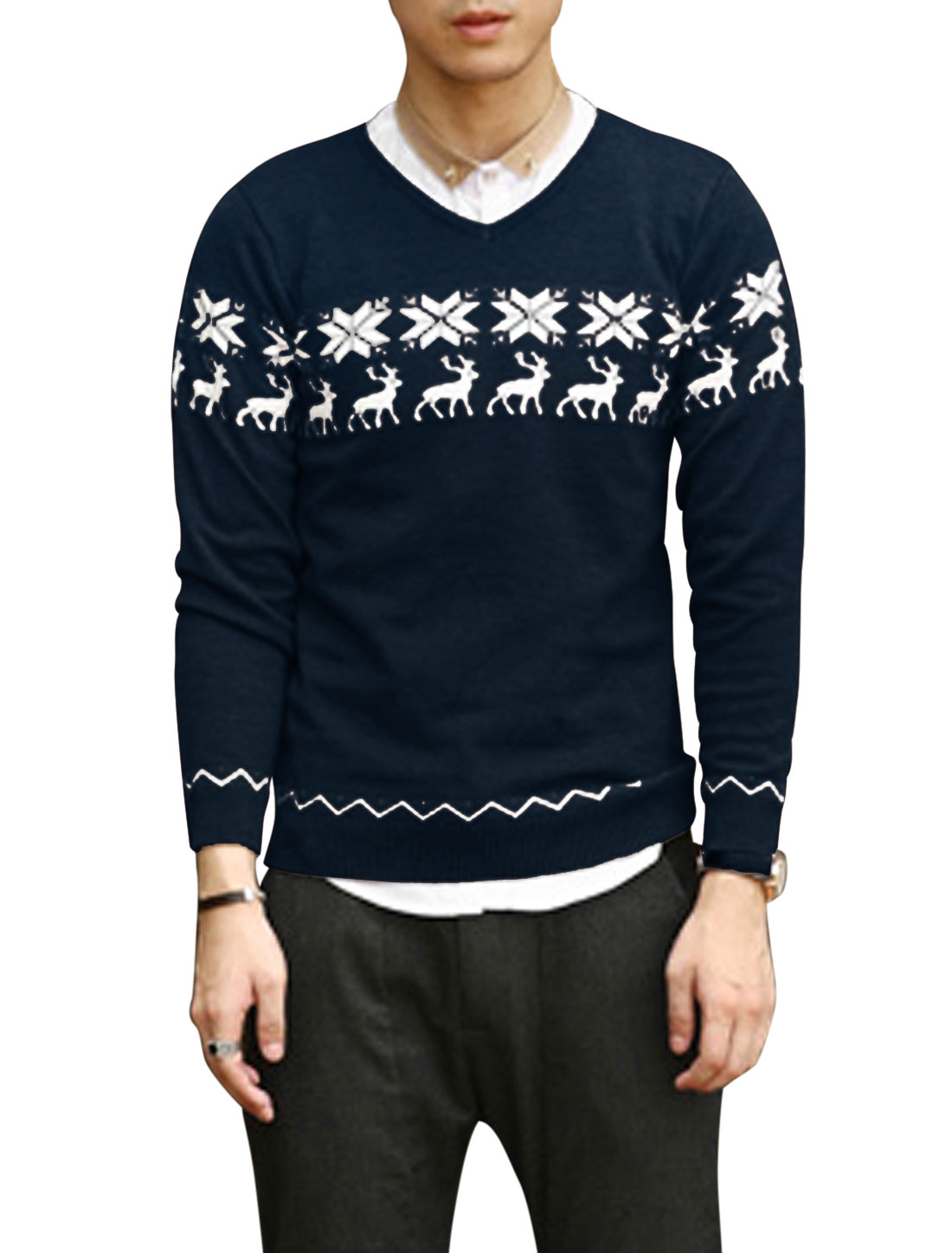 V Neck Deer Pattern Snowflake Pattern Casual Sweater for Men Navy Blue M