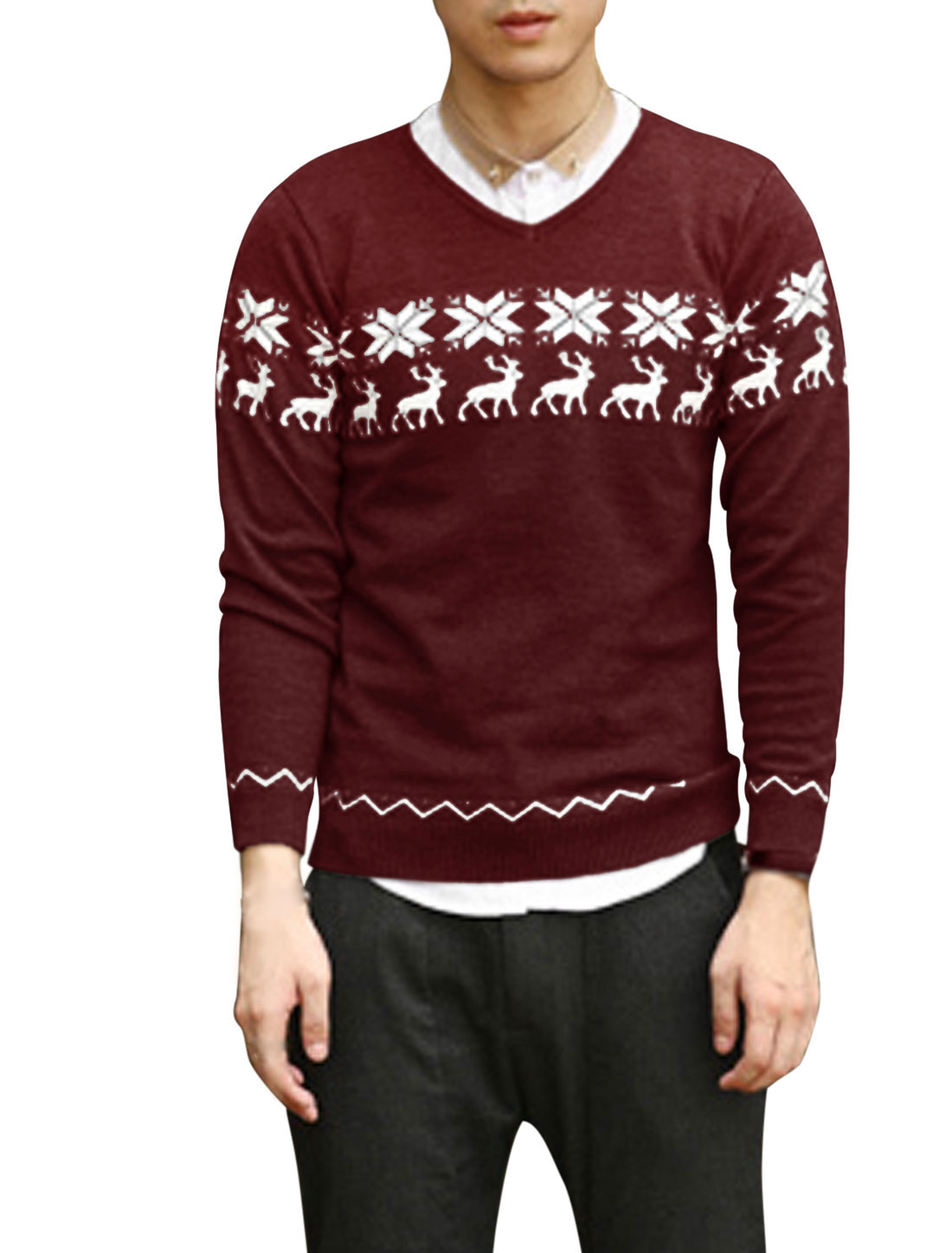 Ribbed Cuffs Deer Pattern Snowflake Pattern Casual Sweater for Men Burgundy M