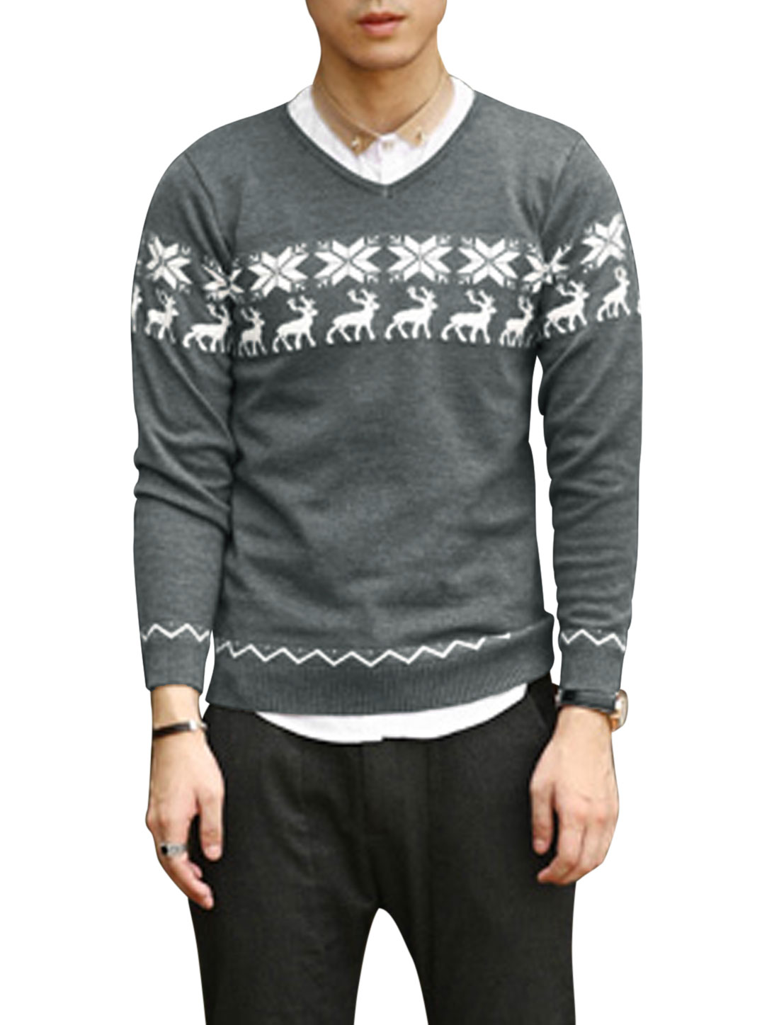 Ribbed Hem Deer Pattern Snowflake Pattern Casual Sweater for Men Gray M