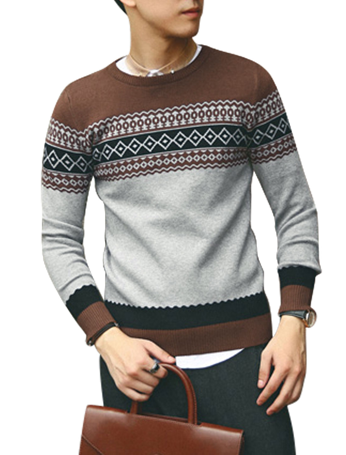 Men Crew Neck Argyle Pattern Zigzag Pattern Slim Casual Sweater Brown Light Gray S