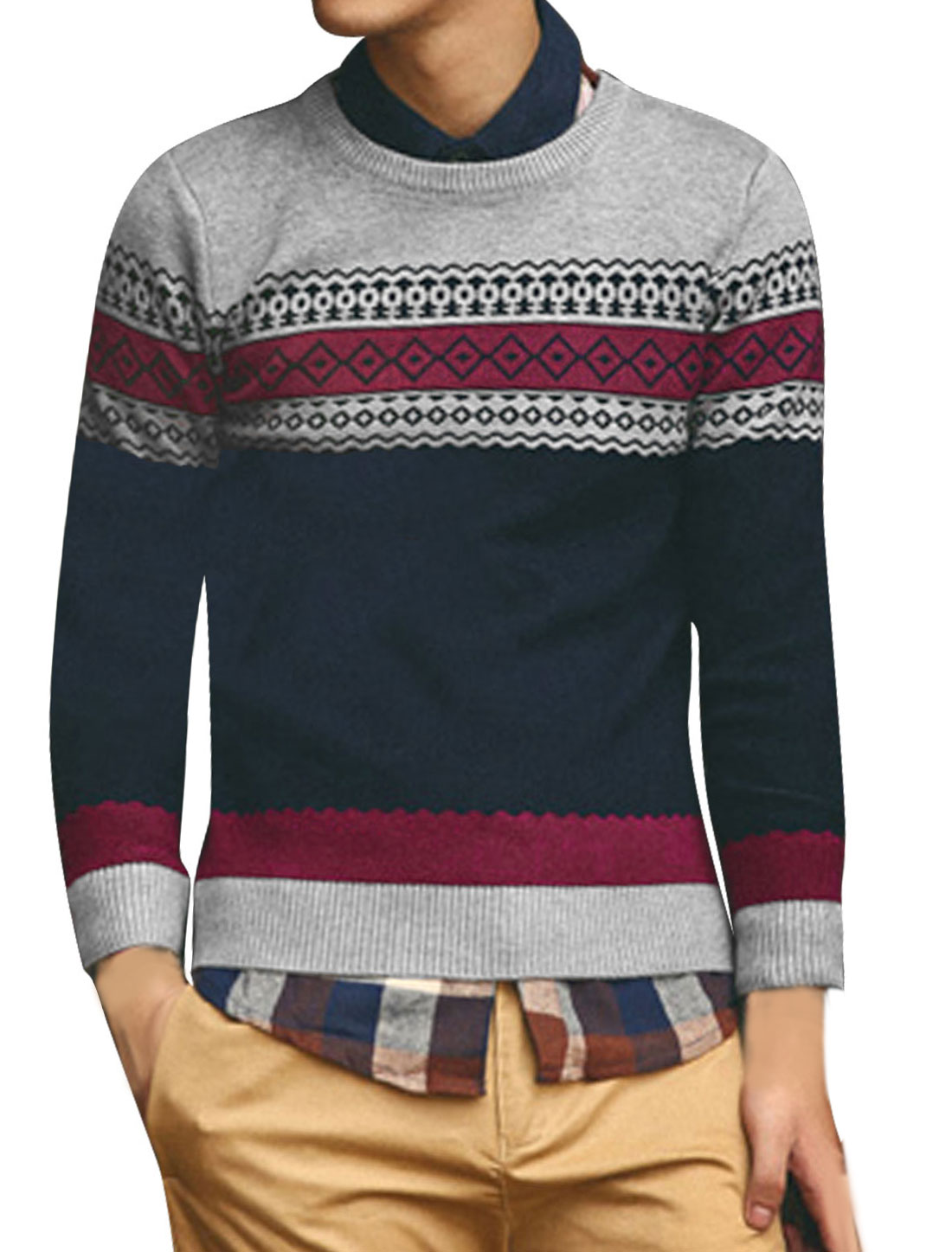 Men Crew Neck Argyle Pattern Zigzag Pattern Slim Sweater Navy Blue Light Gray S