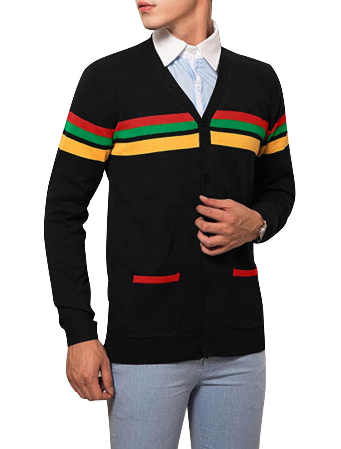 Men Stripes Button Up Long Sleeves Cardigan Sweater Black M