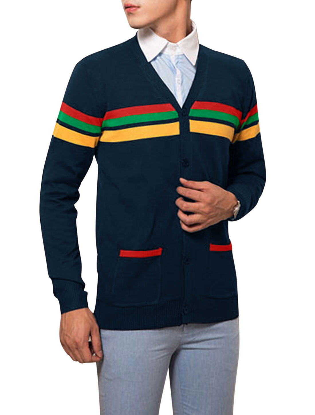 Man Double Pocket Stripes V Neckline Navy Blue Cardigan Sweater M