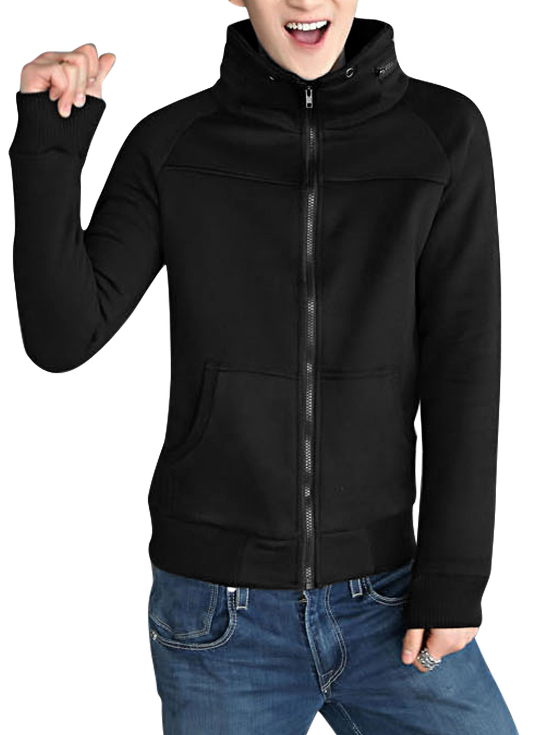 Men Black Raglan Sleeve Zip Up Fashionable Casual Sweatshirt M