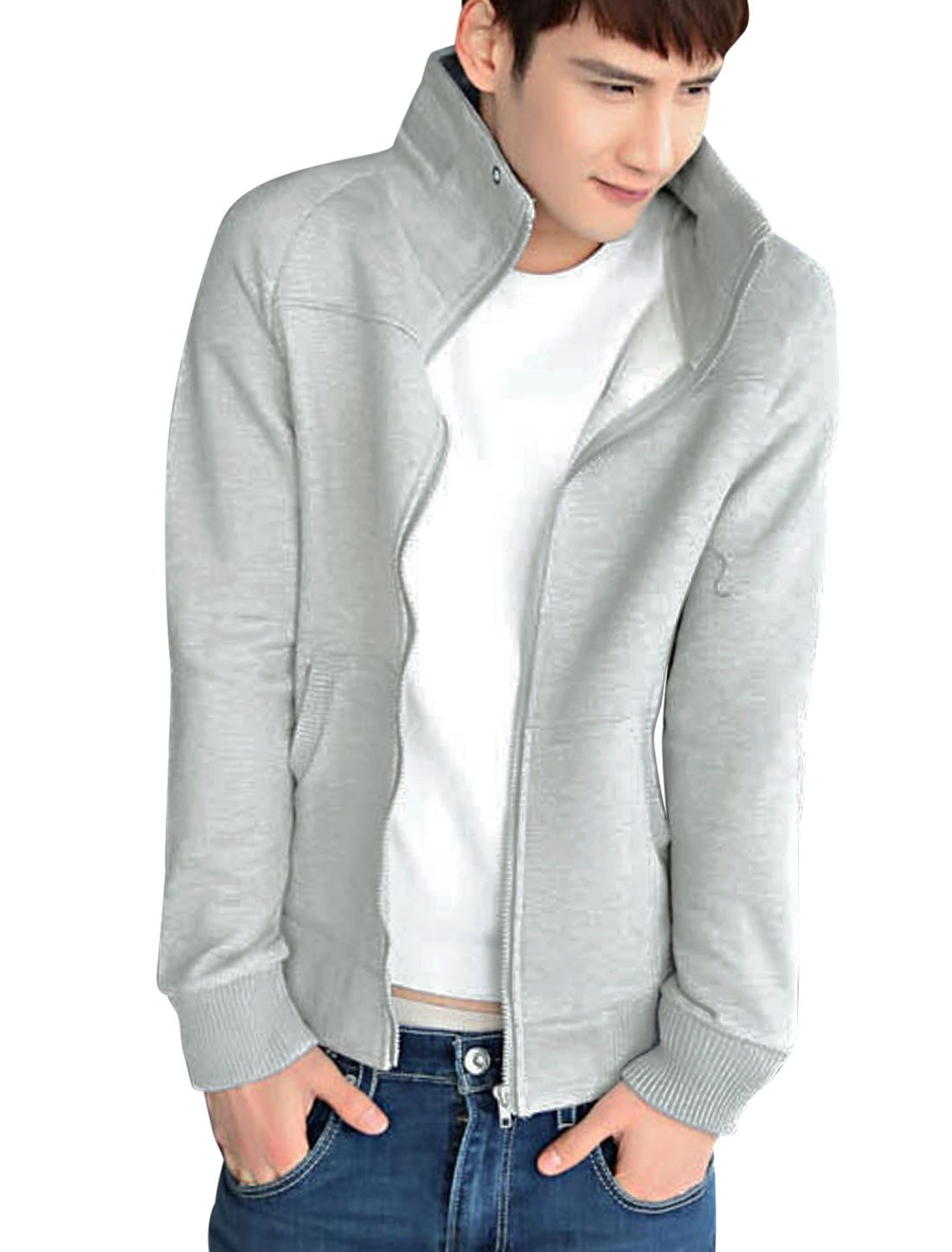 Men Raglan Sleeve Zip Up Fashionable Casual Sweatshirt Light Gray M