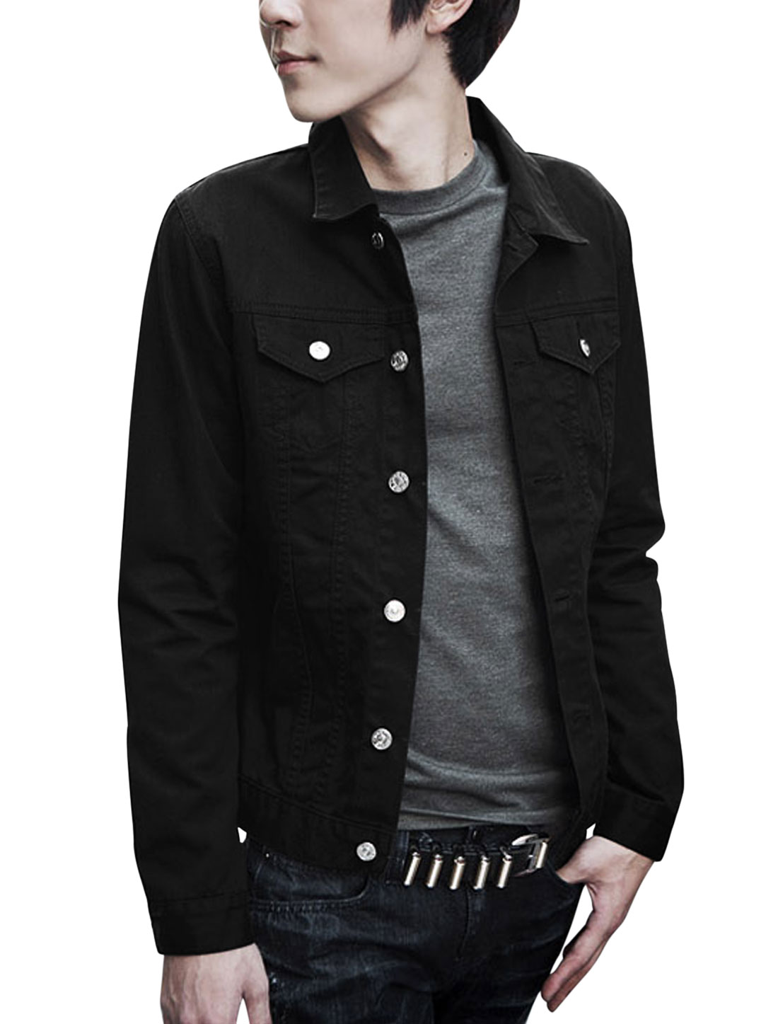 Men Turn Down Collar Long Sleeves Button Front Jacket Black M