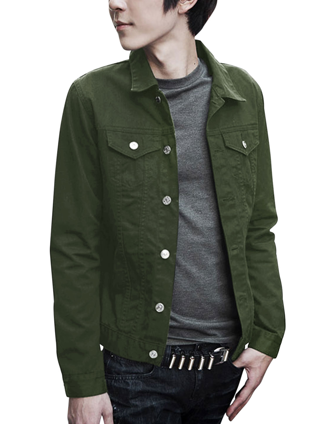 Man Fake Chest Pocket Decor Long Sleeves Army Green Jacket M