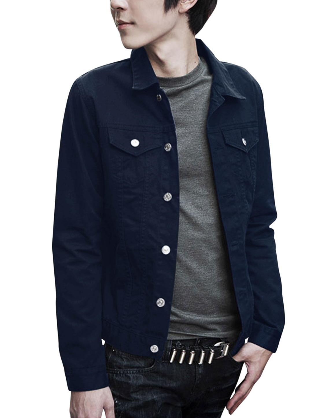 Button Closed Turn Down Collar Navy Blue Jacket for Man M