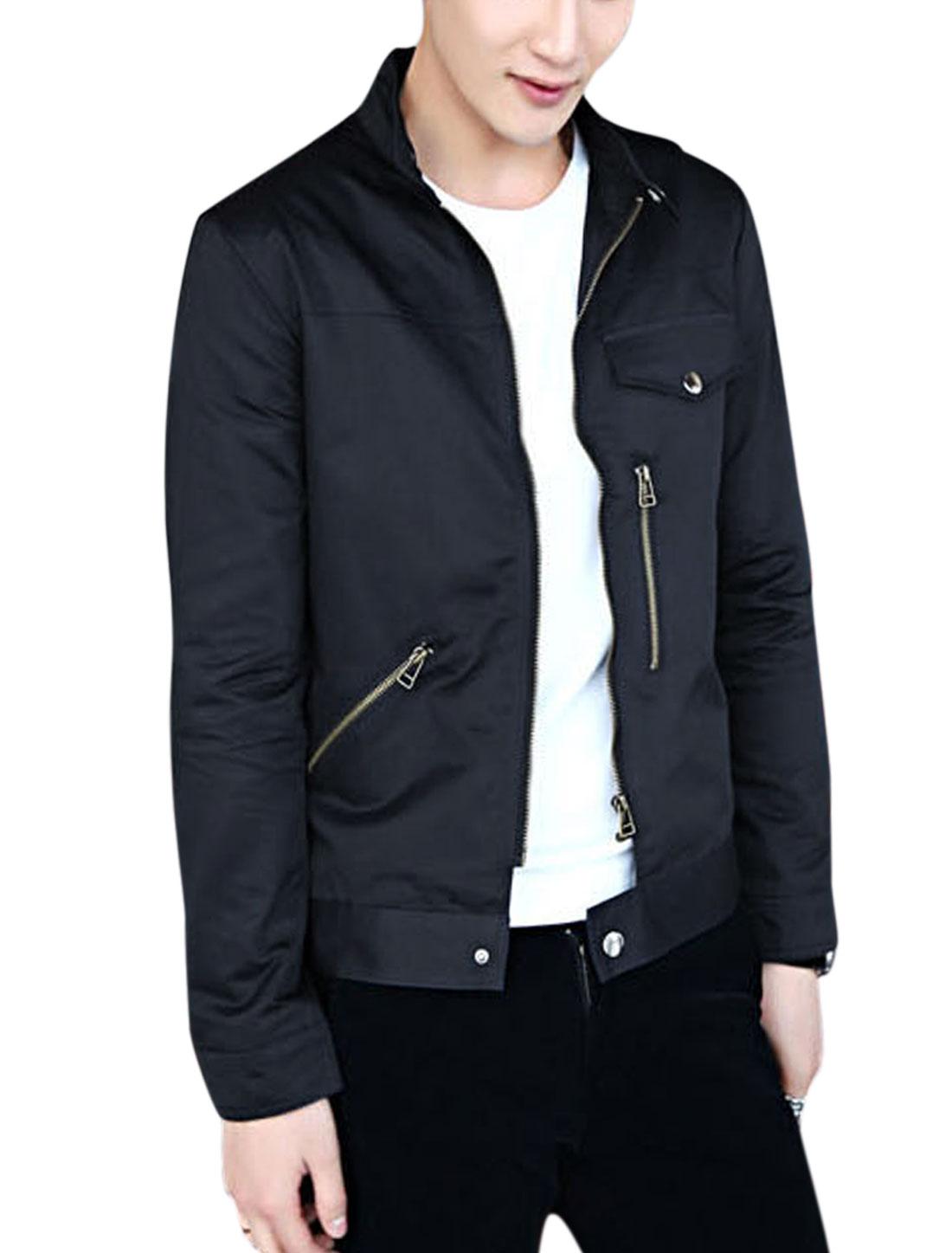 Men Zipper Closure Long Sleeve Buttoned Cuff Leisure Jacket Navy Blue M