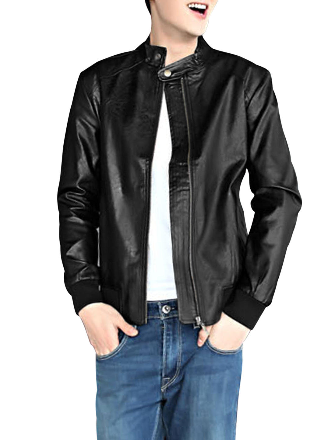 Men Zip Closure Stand Collar Casual Imitation Leather Jacket Black M