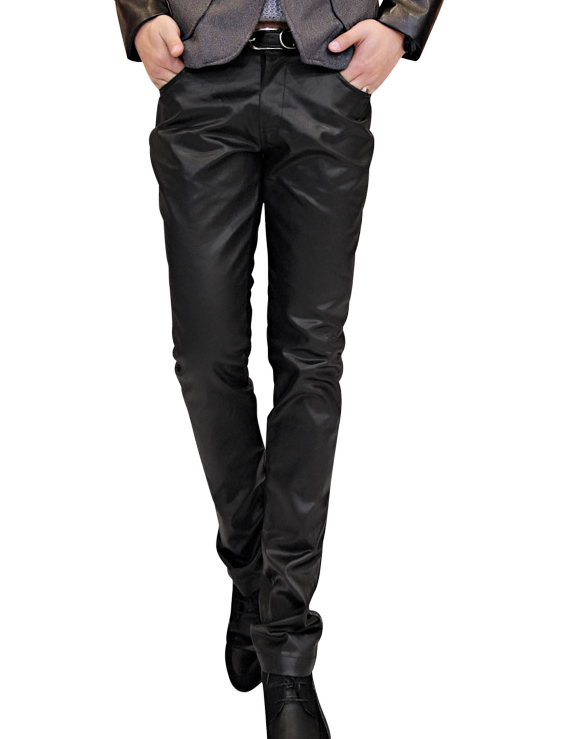 Men One Button Closure Zip Fly Slim Fit Imitation Leather Pants Black W30