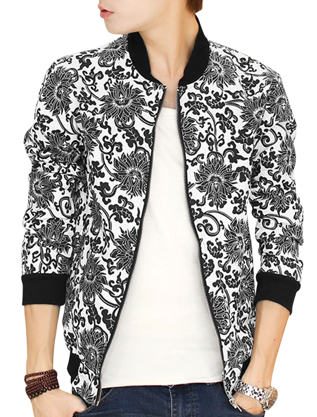 Men Stand Collar Zip Up Floral Pattern Fashion Casual Jacket White Black S