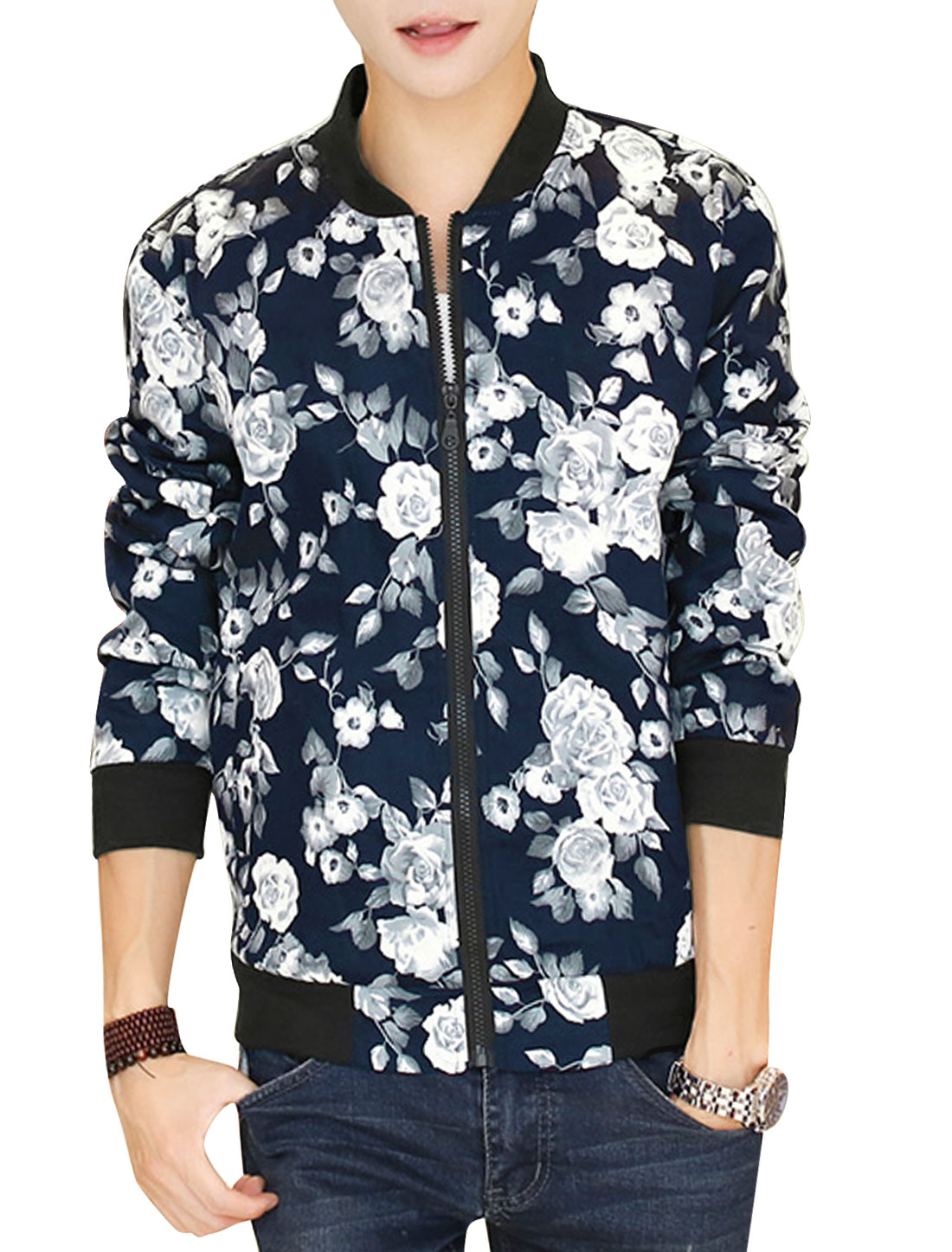 Men Floral Prints Ribbed Trim Long Sleeve Casual Jacket Navy Blue S
