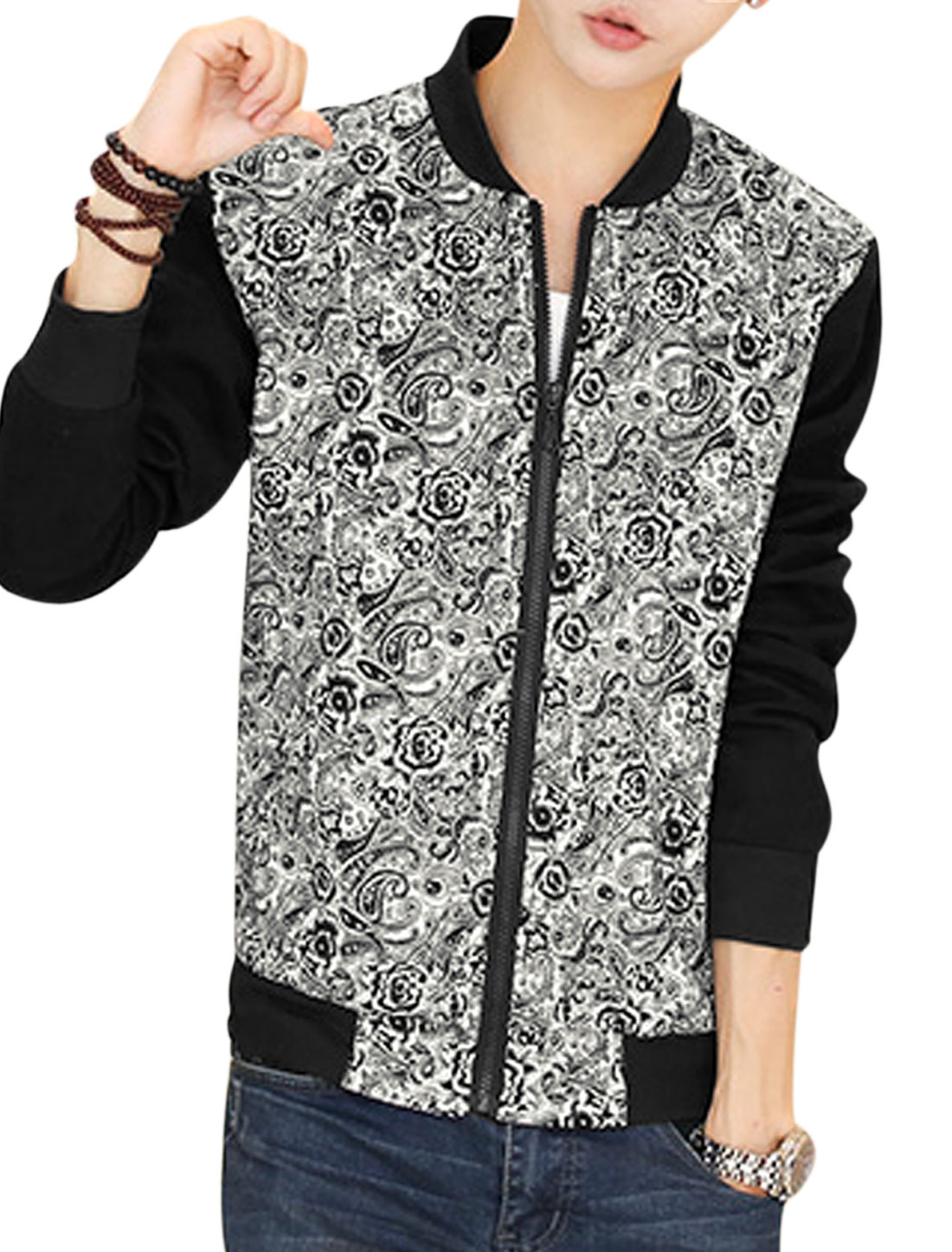 Man White Black Stand Collar Long Sleeves Floral Print Zippered Front Jacket S
