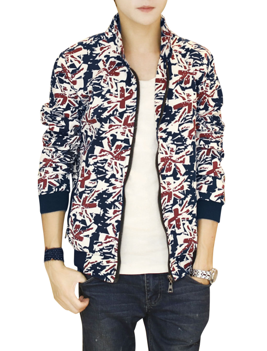 Men Stand Collar British Flag Pattern Zip Up Casual Jacket Navy Blue Red S