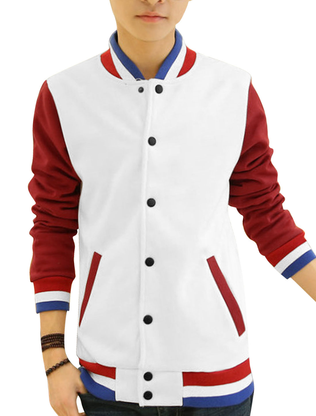 Man White Long Sleeves Stand Collar Single Breasted Casual Jacket M