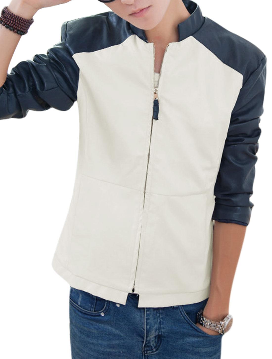 Men Color Block Welt Pockets Imitation Leather Jacket Beige Navy Blue M