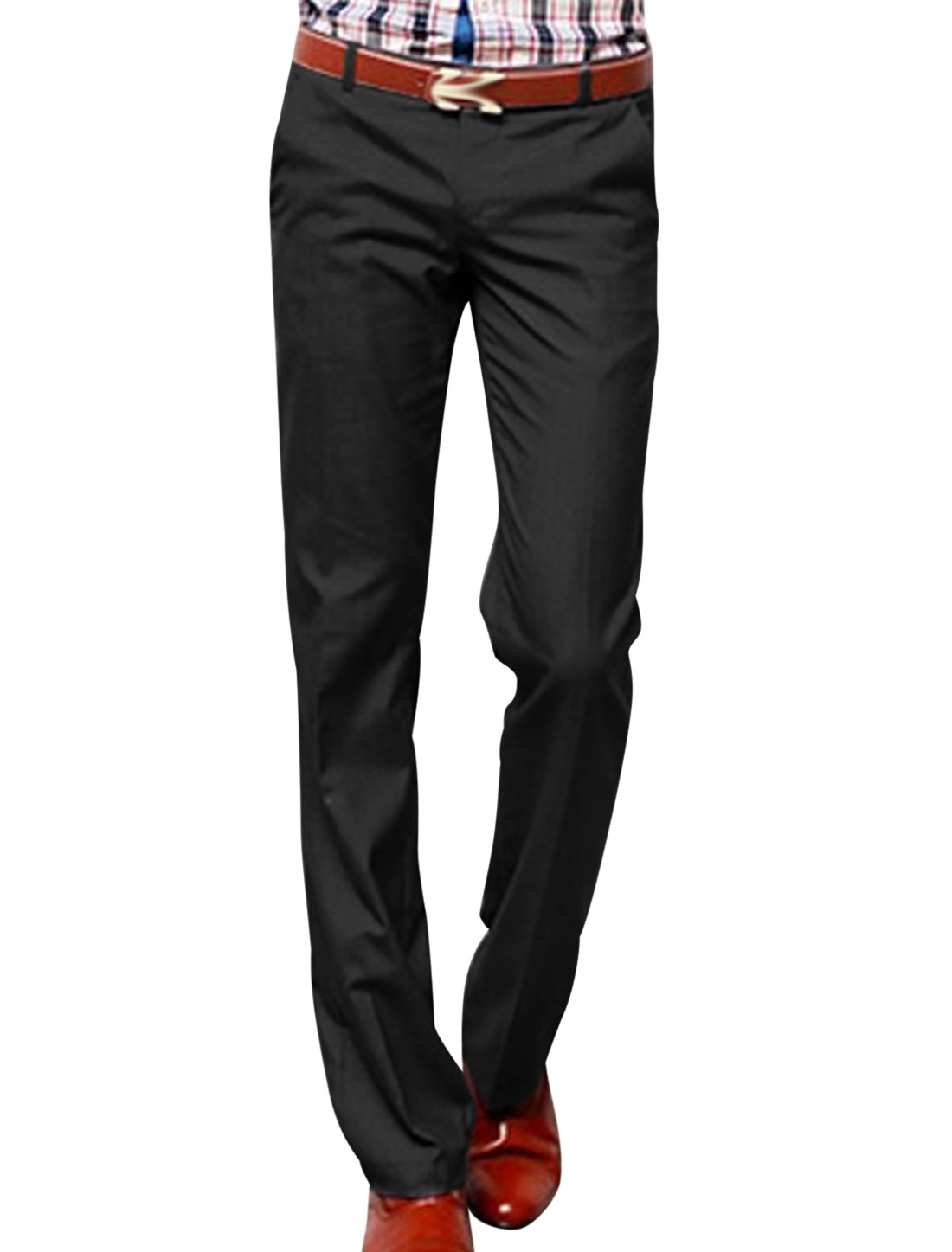 Men Zip Fly Mid Rise Cozy Fit Leisure Pants Black W30