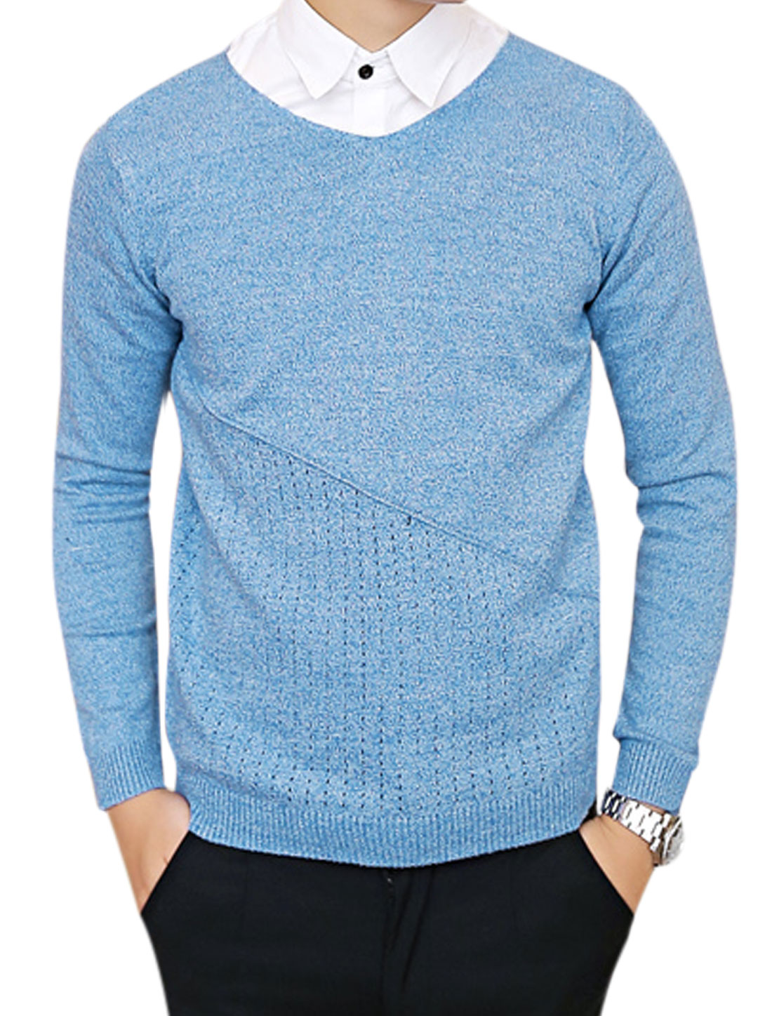 Men V Neck Long Sleeves Hollow Out Detail Sweater Navy Blue S
