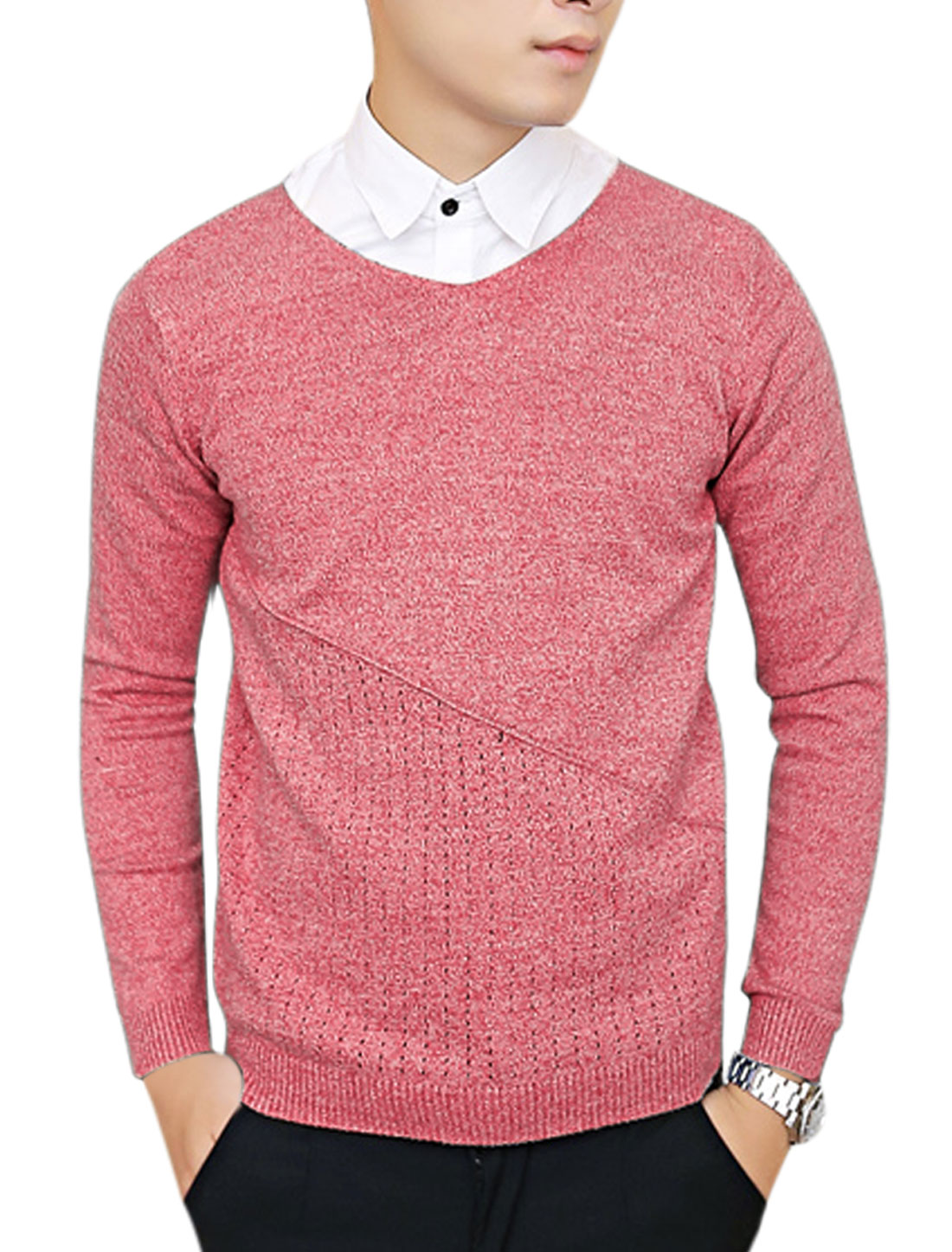 Men Long Sleeves Pullover Slim Fit Warm Red Sweater S