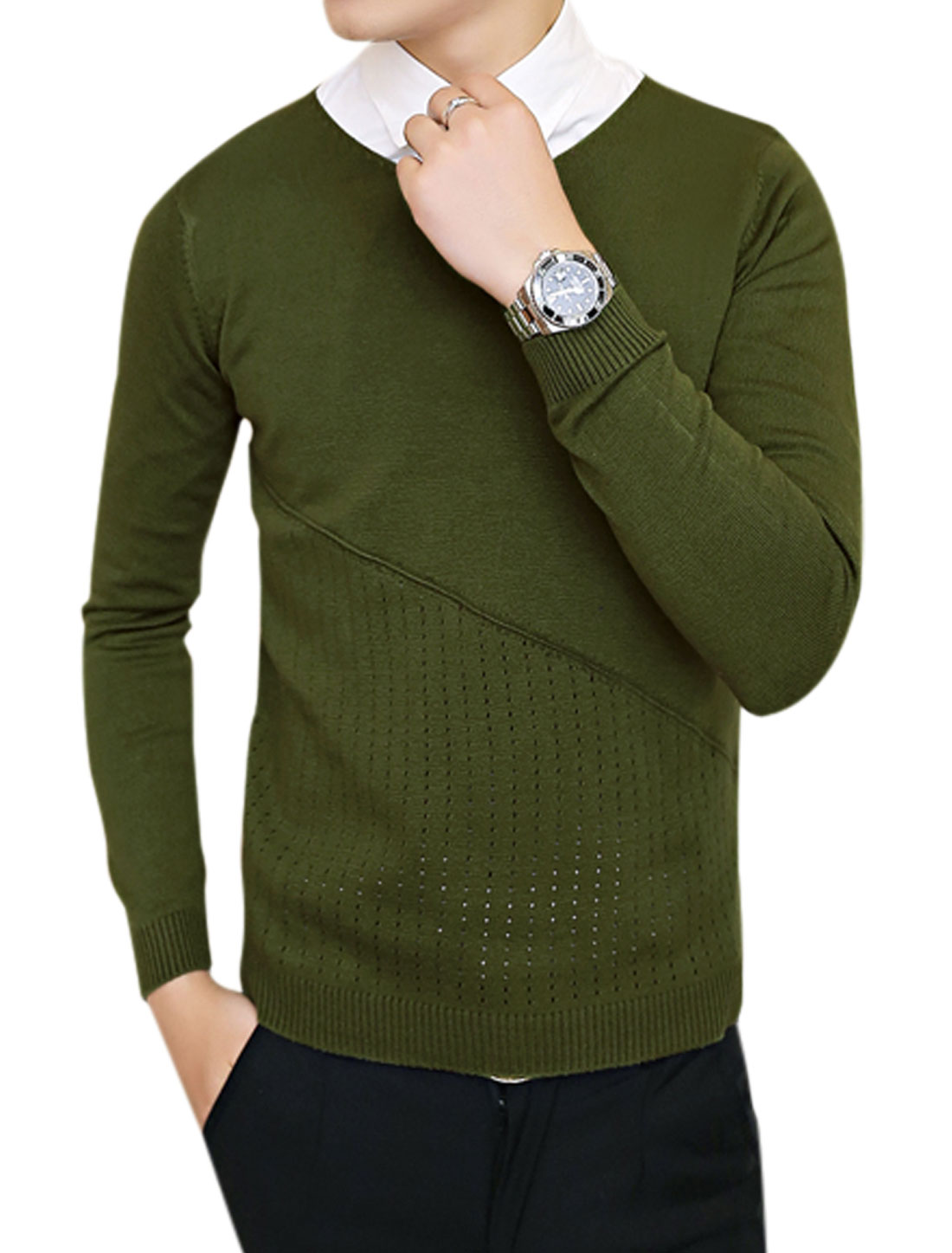 Men Slipover Hollow Out Detail Chic Army Green Sweater S