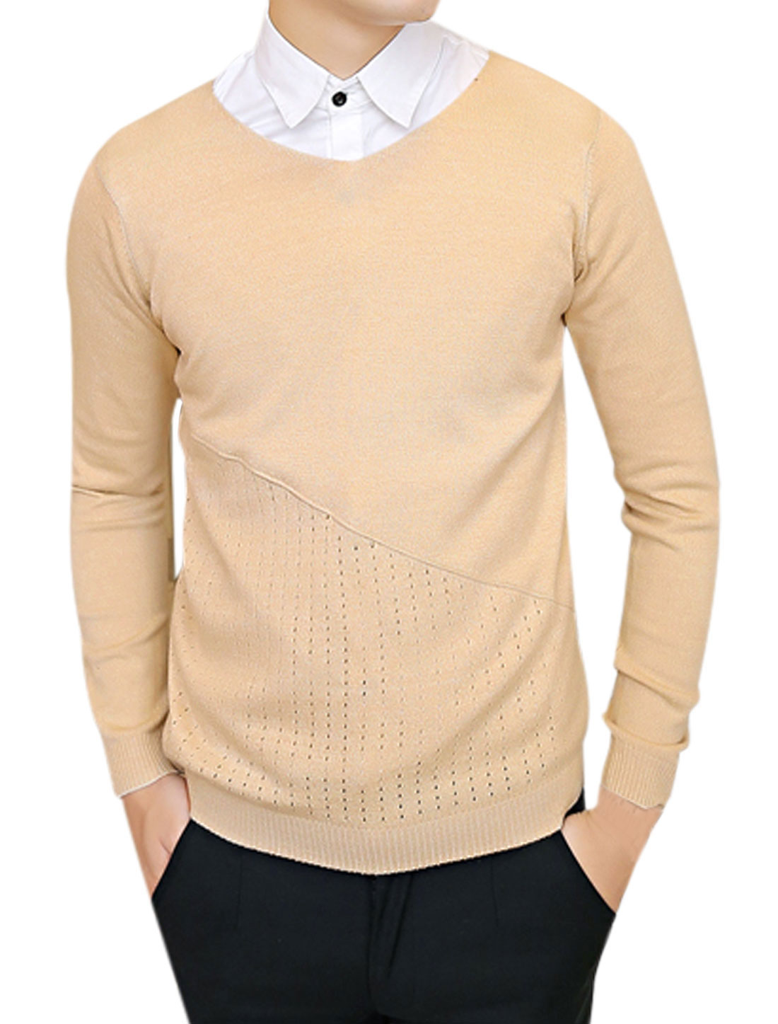 Hollow Out Design V Neck Chic Beige Sweater for Men S